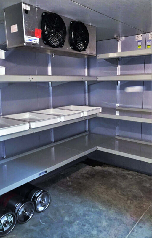 Adjustable Walk-In Cooler Shelving System by E-Z Shelving Systems