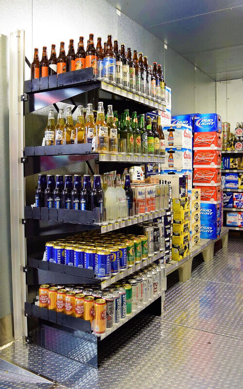Freestanding Display Shelving for Walk-in Coolers by E-Z Shelving Systems