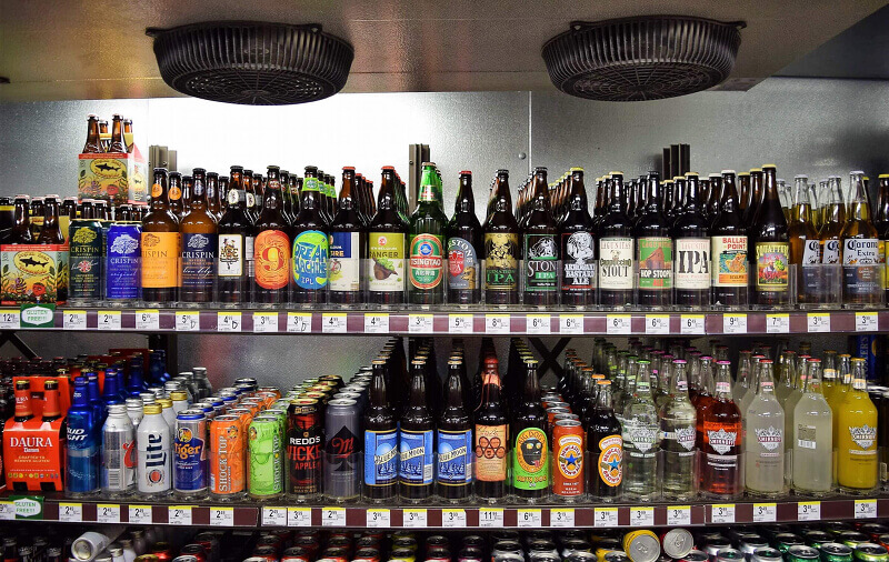Powder Coated Beer Cave Shelving by E-Z Shelving Systems