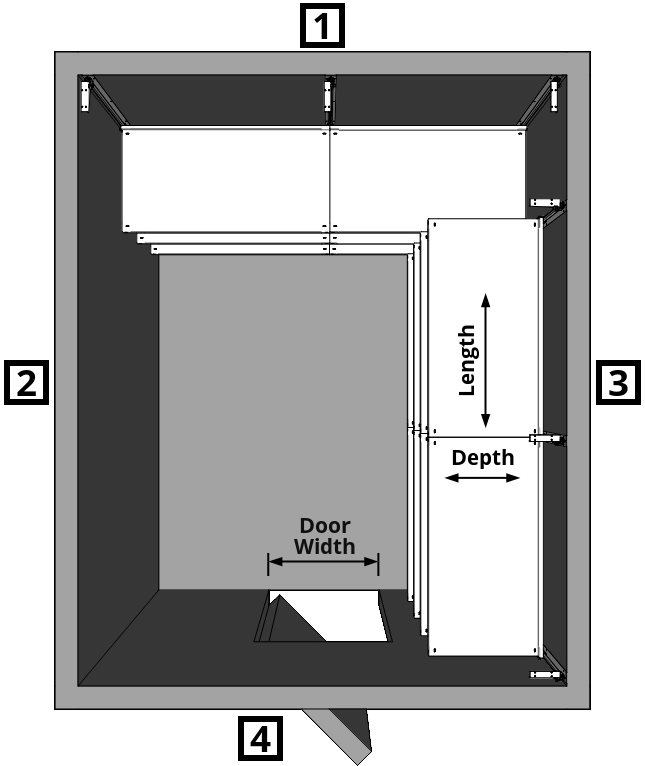 Walk-In Cooler Shelving Layout Dual Wall Left Turn