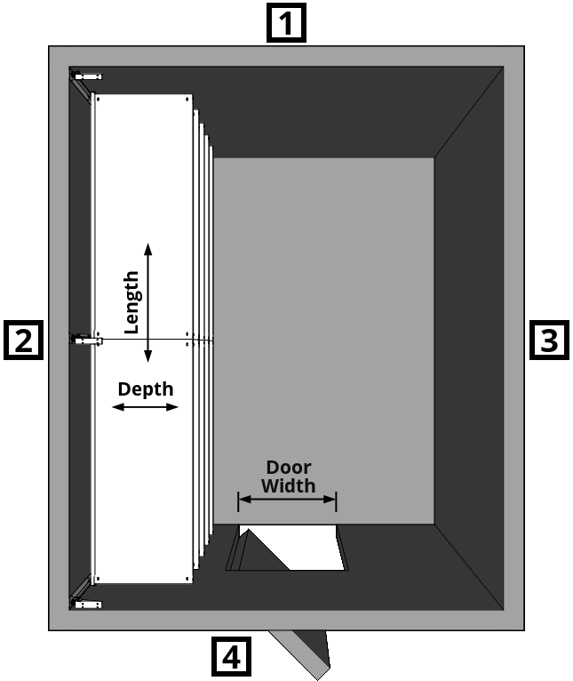Walk-In Cooler Shelving Layout Single Wall Left