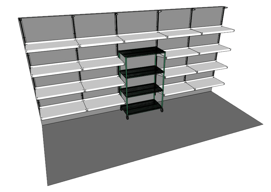 Walk-In Cooler Shelving System with Mobile Rack