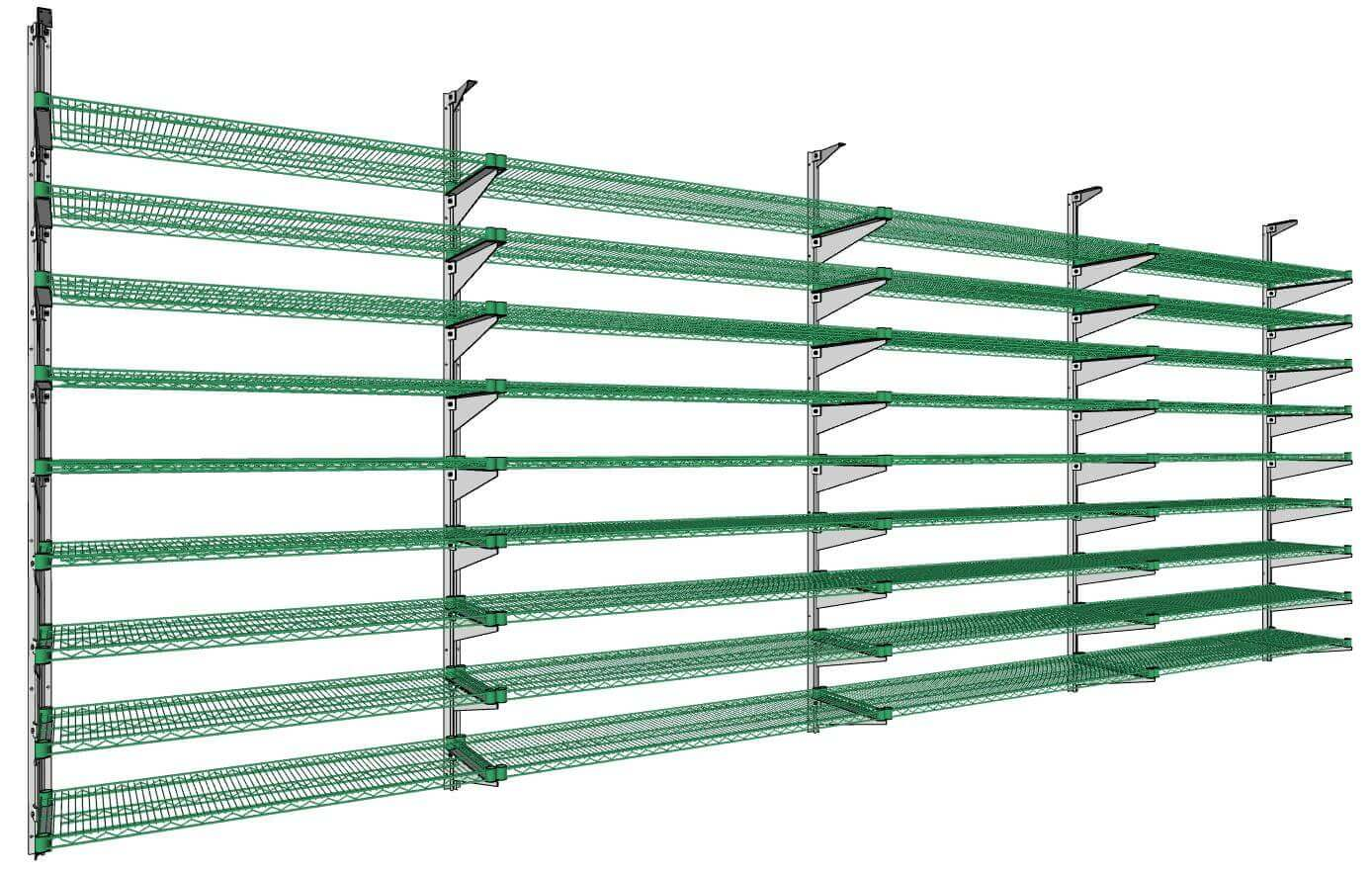 Wire Shelving on Knob Brackets by E-Z Shelving Systems